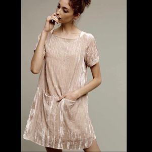 Floreat Crushed Velvet Shift Dress Pockets Size XS